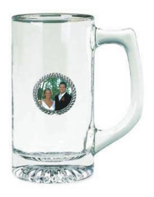 Glass Stein with Pewter Photo Insert